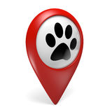 Red map pointer icon with a paw symbol for pet shops and pet services Royalty Free Stock Photography