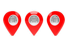 Red Map Pointers with Government Building Target. 3d Rendering Stock Images