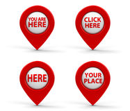 Red map pointers with text Stock Photography
