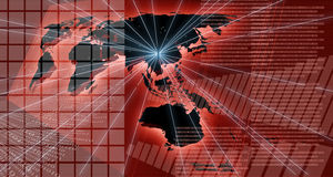Red map of the world. With charts Stock Images