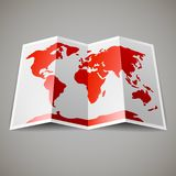 Map of the World. Red map of the World, on gray blackground Stock Images