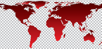 Red map of world on transparent background Royalty Free Stock Images