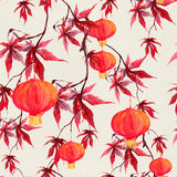 Red maple branch with paper lantern. Chinese seamless pattern. Watercolor Royalty Free Stock Photos