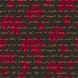 Red maple leaves with handwritten text. Seamless mysterious pattern. Watercolor Stock Photo