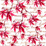 Red maple leaves with handwritten text. Vintage seamless pattern. Watercolor Royalty Free Stock Photo