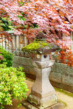Red maple and traditional temple lantern in Japan. Ese style garden in Japan Stock Photo