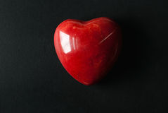 Red Marble Heart on Black Stock Photo