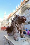 Red marble statue of lion at St Mark's Square in Venice, Italy Stock Photo