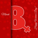 Red 8 March greeting card template International Women`s day  ve Royalty Free Stock Photography