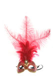 Red Mardi Gras Mask. With feathers, on isolated background, with strap