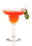 Red Margarita cocktail with lime Stock Image