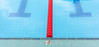 The red marked lane in center of platform for swimming competiti Stock Images