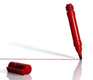 Red marker draws a line. 3d Stock Photography