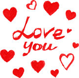 Red marker love sign with hearts Stock Images