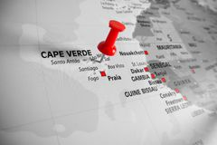 Free Red Marker Over Cape Verde Island Stock Photography - 118401082