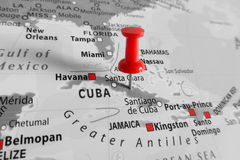 Red marker over Cuba island Royalty Free Stock Images