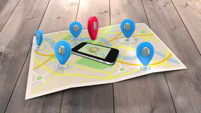 Red marker pointing on a mobile lying on a map surrounded by blue markers stock video footage