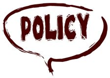 Red marker sketched speech bubble with POLICY message. Royalty Free Stock Photo