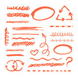 Red Marker strokes set Royalty Free Stock Photo