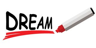 Red marker underlining word dream Royalty Free Stock Photography