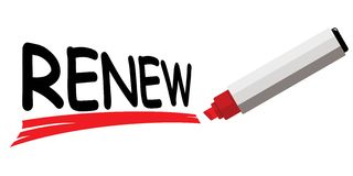 Red marker underlining word renew Royalty Free Stock Photography