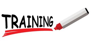Red marker underlining word training stock images