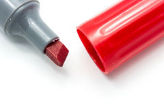 Red marker on white Royalty Free Stock Photo