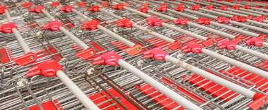 Red market trolleys for shopping Stock Photo