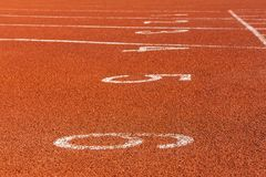 Red markings on the racetrack at the stadium. Red markings on the racetrack at the stadium Stock Image