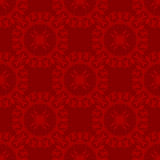 Red and Maroon Circular Damask Seamless Pattern. Damask seamless pattern with red circular design over roguh maroon background Royalty Free Stock Photo