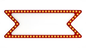 Red marquee light board sign retro on white background. 3d rendering. Red marquee light bulb board display sign retro on white background. 3d rendering Stock Photo