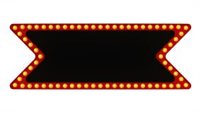 Red marquee light board sign retro on white background. 3d rendering. Red marquee light bulb board display sign retro on white background. 3d rendering Stock Image