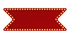 Red marquee light board sign retro on white background. 3d rendering. Red marquee light bulb board display sign retro on white background. 3d rendering Stock Photography