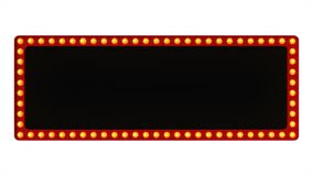 Red marquee light board sign retro on white background. 3d rendering stock illustration