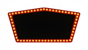 Red marquee light board sign retro on white background. 3d rendering. Red marquee light bulb board display sign retro on white background. 3d rendering royalty free illustration
