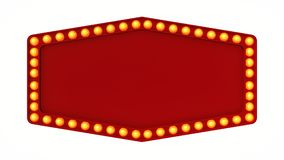 Red marquee light board sign retro on white background. 3d rendering. Red marquee light bulb board display sign retro on white background. 3d rendering vector illustration