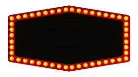 Marquee light board sign retro on white background. 3d rendering royalty free illustration
