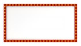 Red marquee light board sign retro on white background. 3d rendering. Red marquee light bulb board display sign retro on white background. 3d rendering Royalty Free Stock Photos