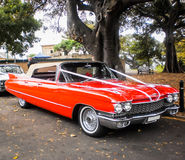 Red marriage car. Ready for pic up at wedding ceremony Royalty Free Stock Photo