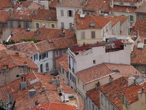 Red Marseille rooftops Stock Images