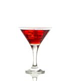 Red martini cocktail with ice cubes. Isolated on white Royalty Free Stock Photography