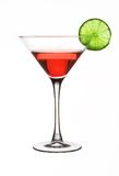 Red martini with a lime Royalty Free Stock Image