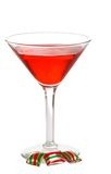 Red martini with three christmas candies Stock Photography