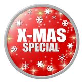 Red x-mas special button. A large, round button with illustrated stars and snowflakes on a red background and the words X-MAS Special Stock Images
