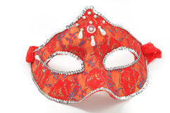 Red mask. Red carnival handmade mask on white background Stock Photos