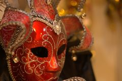 The red mask. One of the most beautiful carnivals in the world in the city, Venice, the most beautiful in the world stock photography
