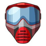 Red mask for paintball icon, cartoon style Royalty Free Stock Image