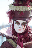 Red masked lady at the Carnival of Venice Royalty Free Stock Image