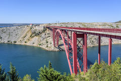 Red Maslenica Bridge in Croatia. Red Maslenica Bridge in Croatia at summer day Stock Photos