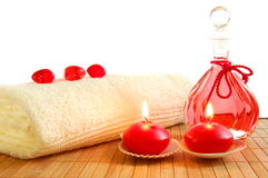 Red massage still life. With towel candles and copyspace Royalty Free Stock Photography